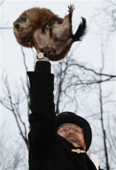 Ben Hughes, handler of the weather-predicting groundhog Punxsutawney Phil,